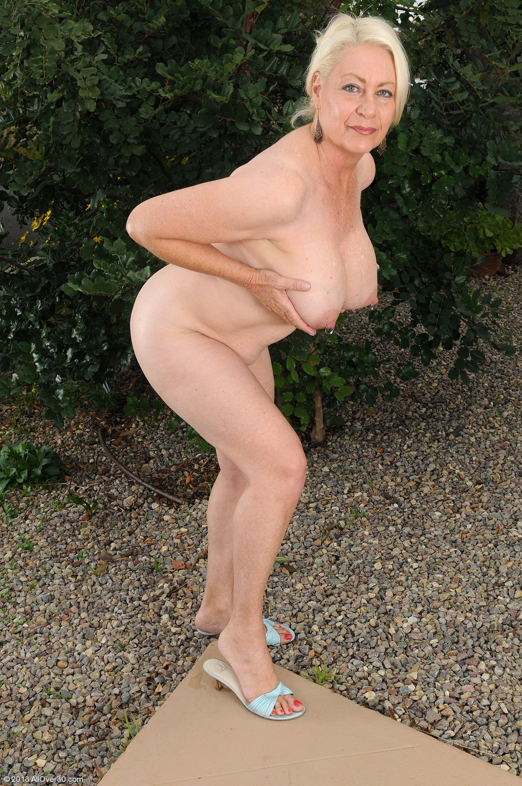 Old mature granny outdoors