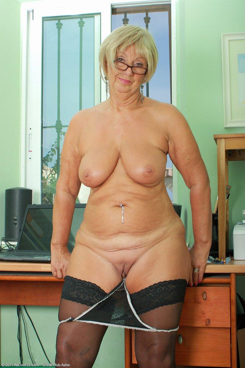 a grandma secretary undressing from brent