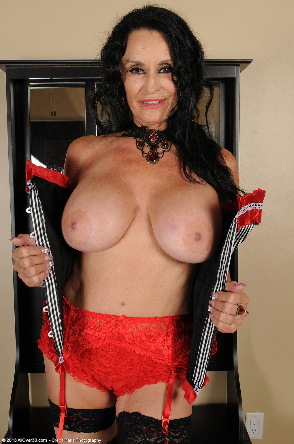 Lovely all over 30 red lingerie granny